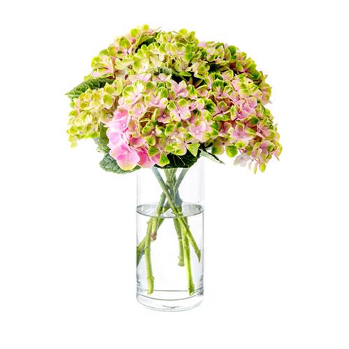 アジサイ & 季節の花材 Arranged by NB (ガラス花器付き)